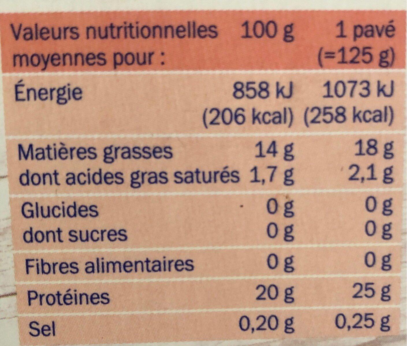 Paves de saumons x2 asc 250g surg - Informations nutritionnelles - fr