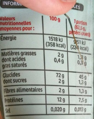 Capellini - Informations nutritionnelles - fr