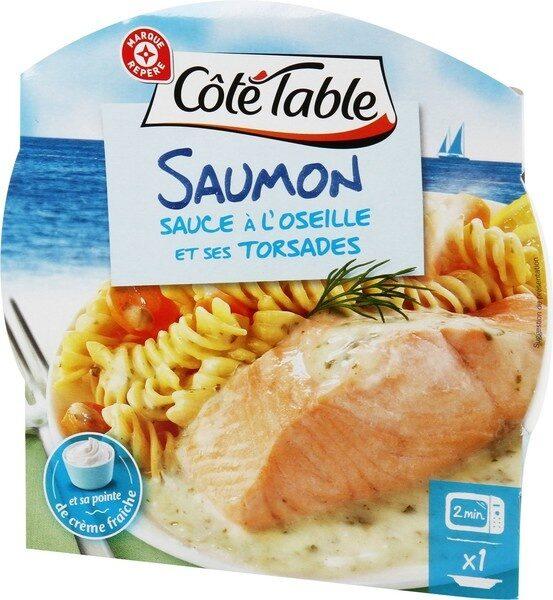 Pavé de saumon sauce oseille et ses pâtes - Produit - fr