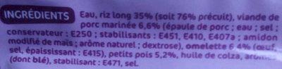 Riz cantonais doypack - Ingredients