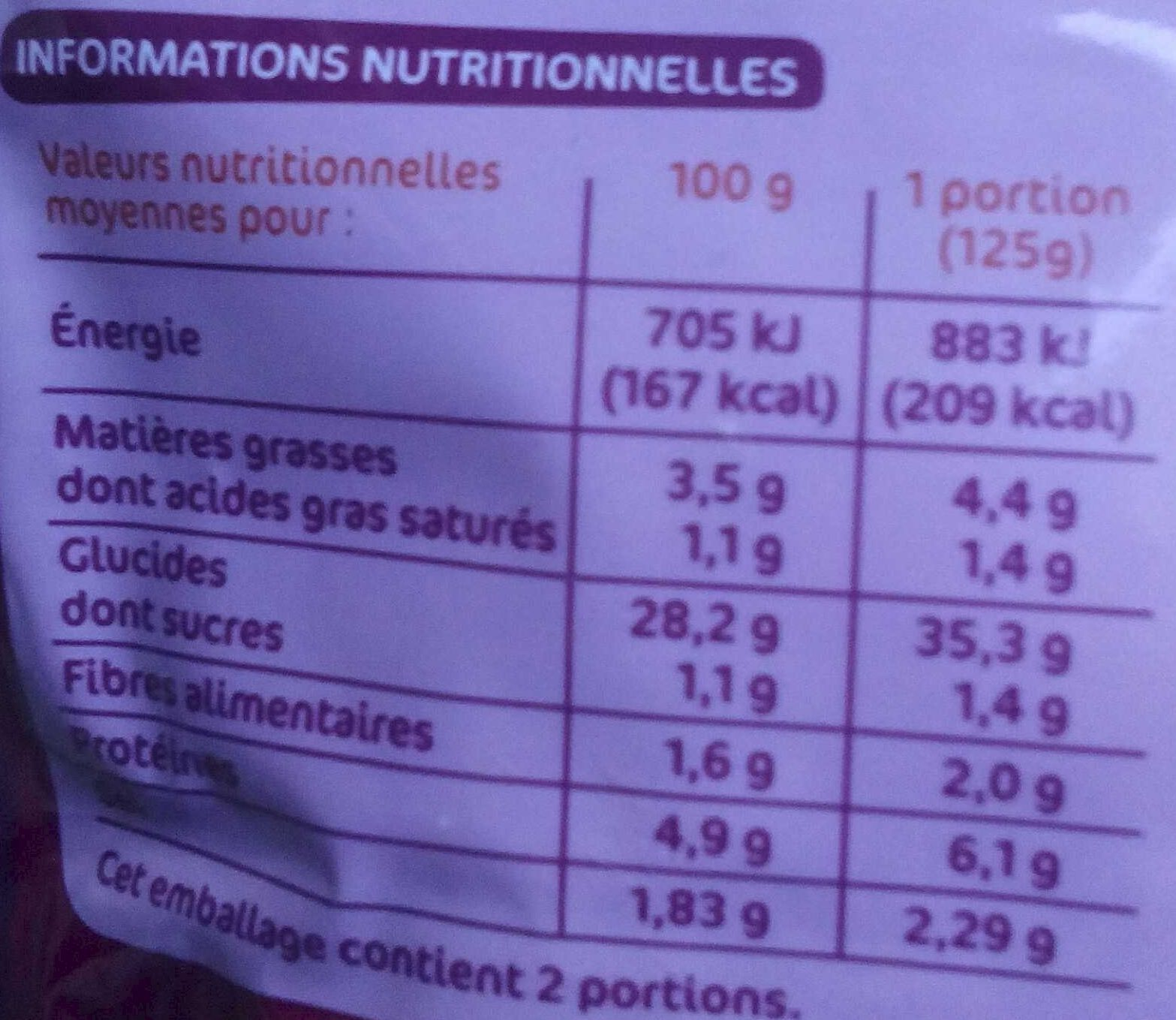 Riz cantonais doypack - Nutrition facts
