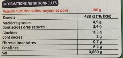 Lasagnes Chèvre Épinards - Informations nutritionnelles