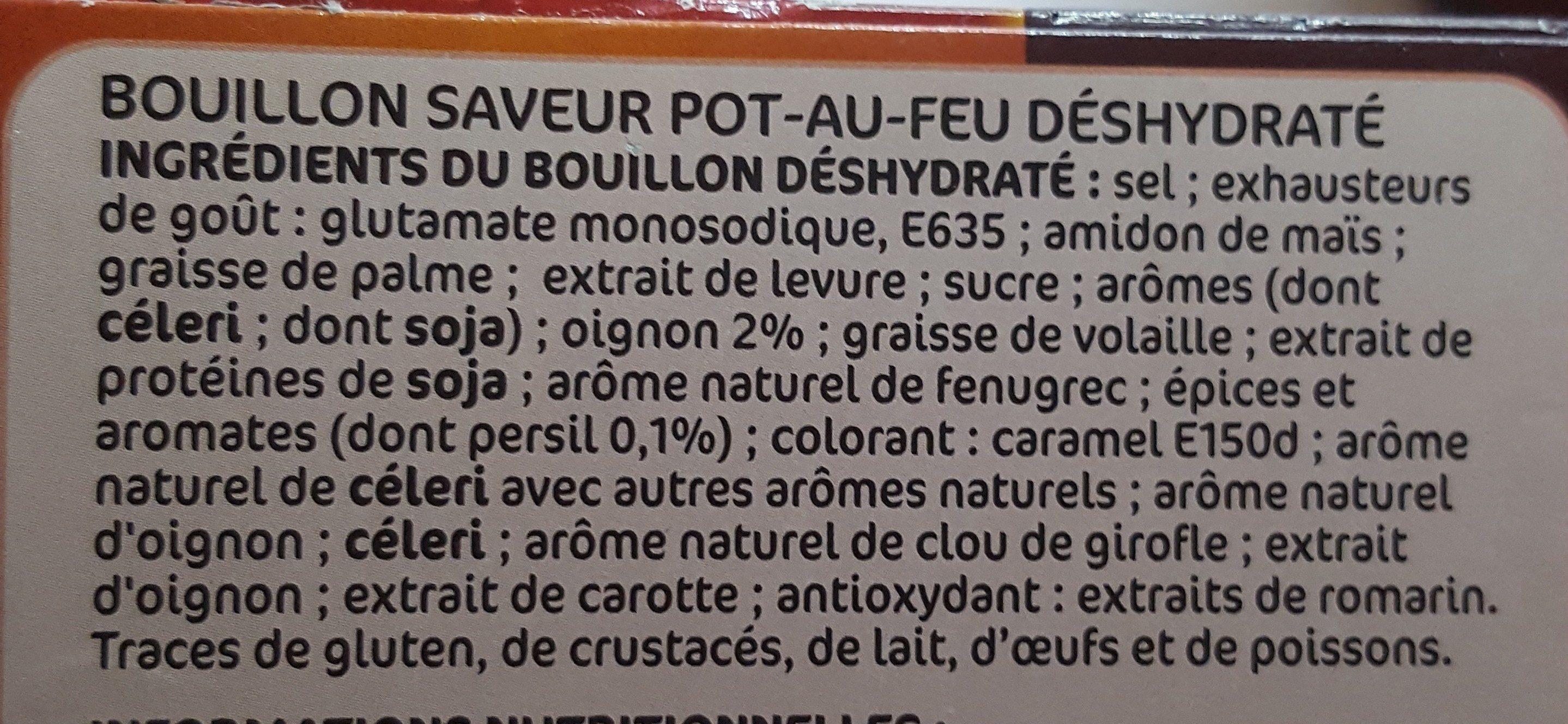 Bouillon de pot au feu déshydraté 12 tablettes - Ingredients