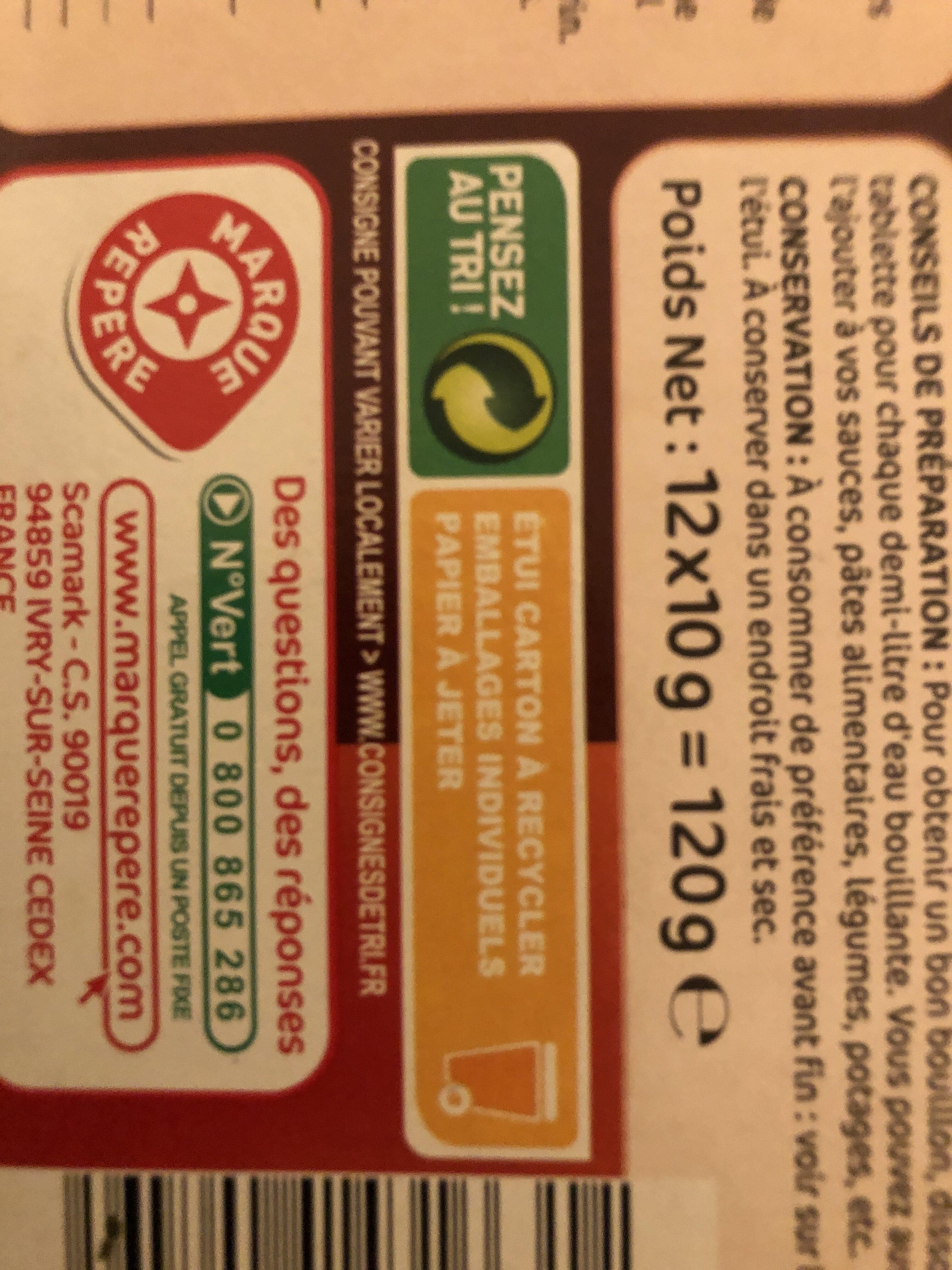 Bouillon de pot au feu déshydraté 12 tablettes - Instruction de recyclage et/ou information d'emballage - fr