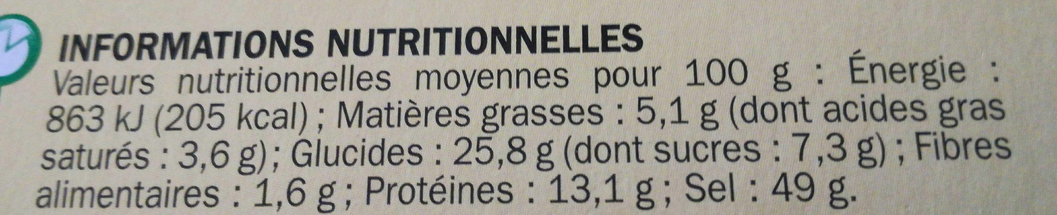 Bouillon à cuisiner déshydraté 12 tablettes de 10 g - Informations nutritionnelles - fr