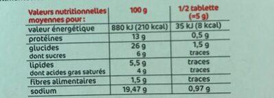 Bouillon à cuisiner déshydraté 12 tablettes de 10 g - Valori nutrizionali - fr