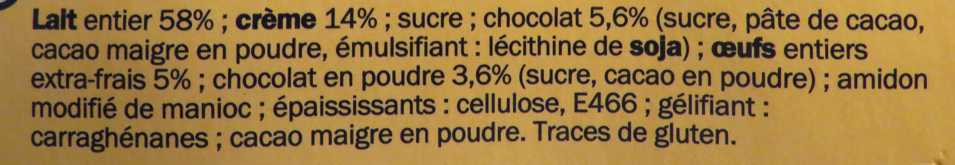 Petit pot de crème choco - Ingredientes - fr