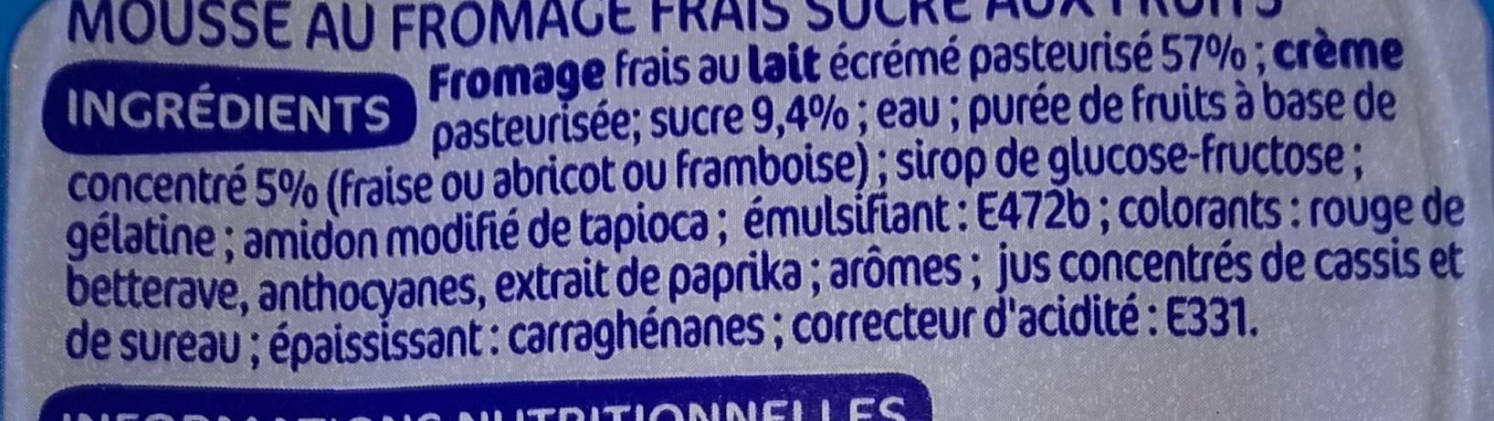 Mousse fromage frais aux fruits - Ingredients - fr