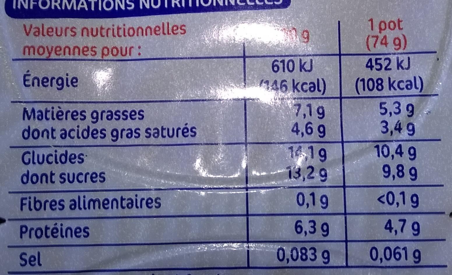 Mousse fromage frais aux fruits - Nutrition facts - fr