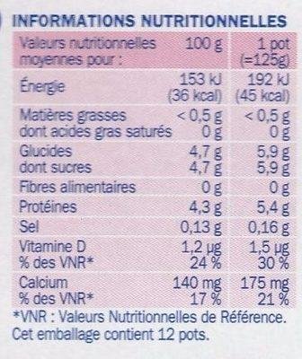 Yaourt aromatisé deli'light 0%mg - Informations nutritionnelles