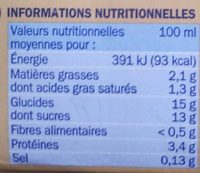 Crème Anglaise - Nutrition facts