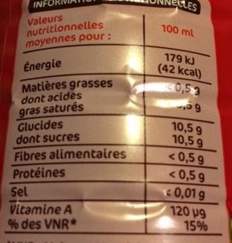 Jus multifruits abc - Voedingswaarden