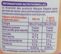 Nectar pêche - Informations nutritionnelles - fr