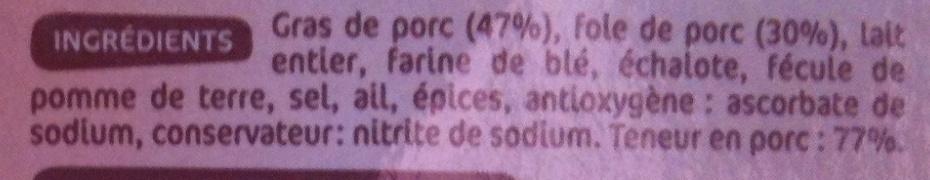 Pâté de foie pur porc x 3 - Ingrédients - fr