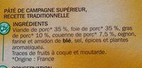 Pâtés de campagne pur porc x 3 - Ingrédients - fr