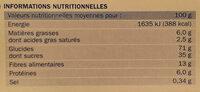 Tuiles citron - Informations nutritionnelles - fr