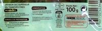 Chiffonade de Jambon sec - Informations nutritionnelles