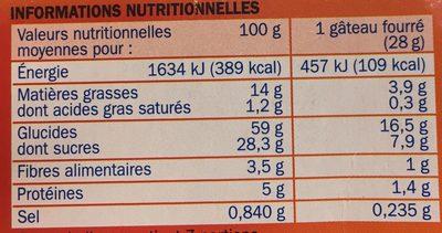Gâteaux fourrage abricot x 7 - Informations nutritionnelles