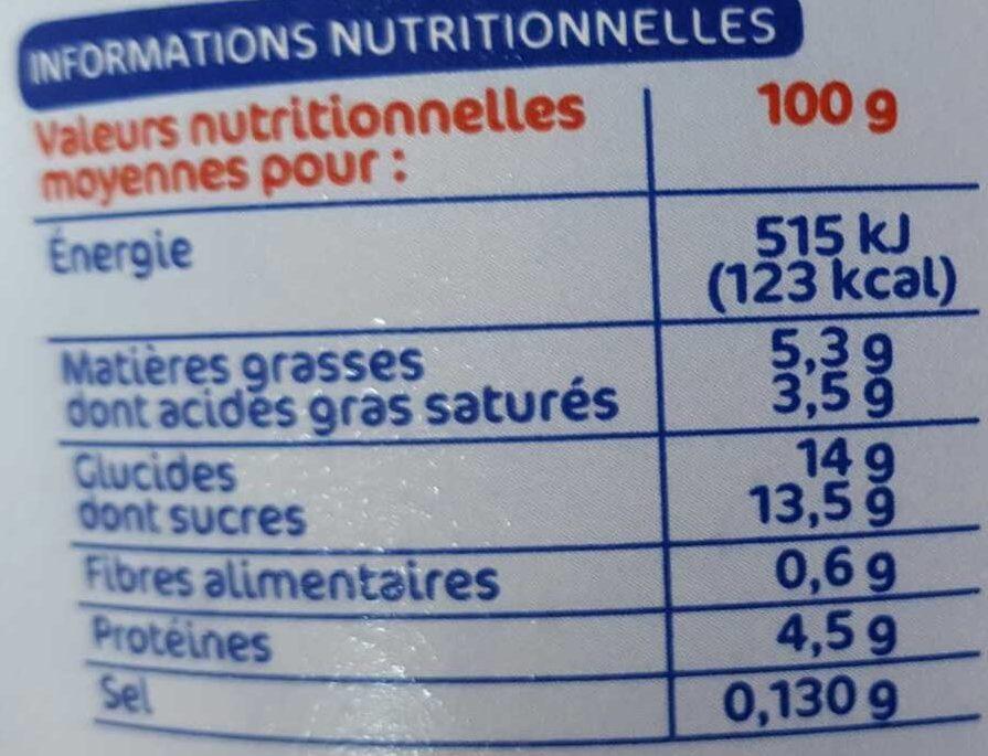 Fromage frais framboise 5,5%mg - Información nutricional