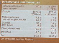 Cônes café x 6 - Nutrition facts