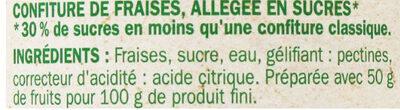 Confiture de Fraise Allégée en sucres - Ingrediënten - fr