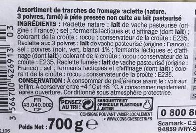 Assortiment raclette 3 fromages - Ingrédients - fr