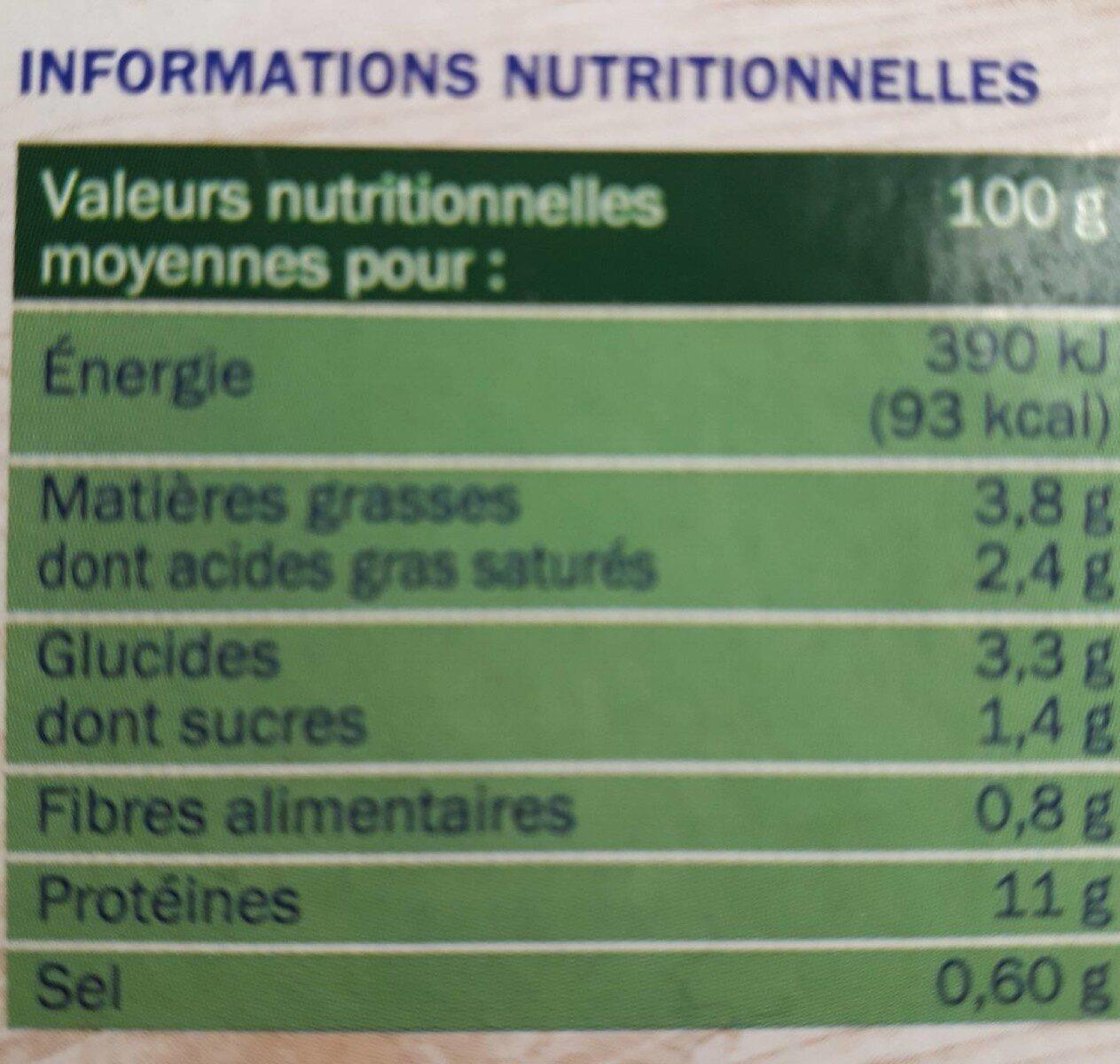 Colin d'Alaska à la Florentine - Informations nutritionnelles - fr