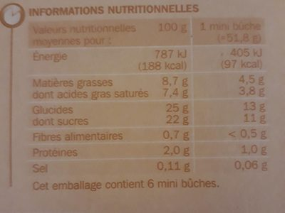 6 Mini buches Eskiss - Nutrition facts - fr