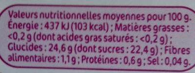 Compote pêches - Informations nutritionnelles