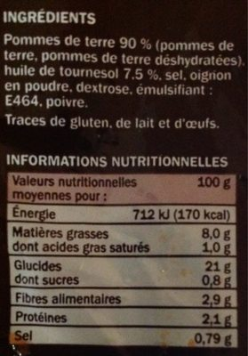 Les Rösti Nature - Nutrition facts