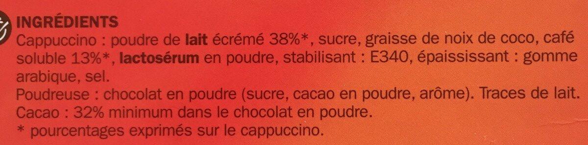 Cappuccino nature 10 sticks 140 g + poudreuse 7 g - Ingrédients - fr