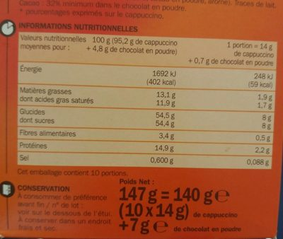 Cappuccino nature 10 sticks 140 g + poudreuse 7 g - Informations nutritionnelles - fr
