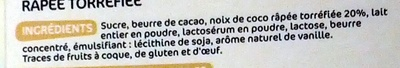 Chocolat blanc à la noix de coco - Ingredienti - fr