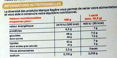 Chocolat blanc à la noix de coco - Valori nutrizionali - fr