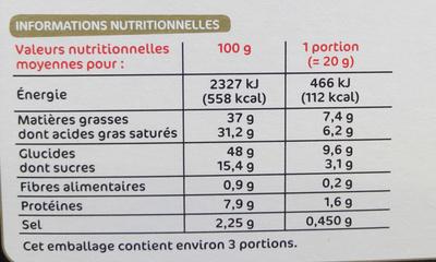 Crêpes fourrées saveur bacon - Informations nutritionnelles