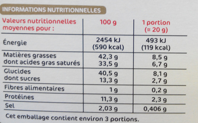 Petites crêpes fourrées saveur comté - Voedingswaarden - fr