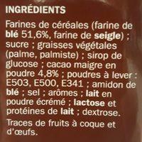 Biscuits P'tit Deli Gouters Fourres au chocolat - Ingredientes