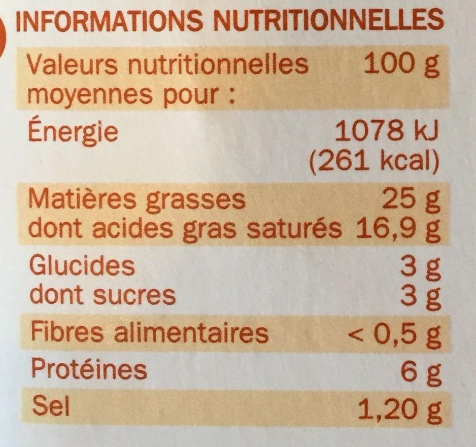 Fromage à tartiner noix 25% - Informations nutritionnelles - fr