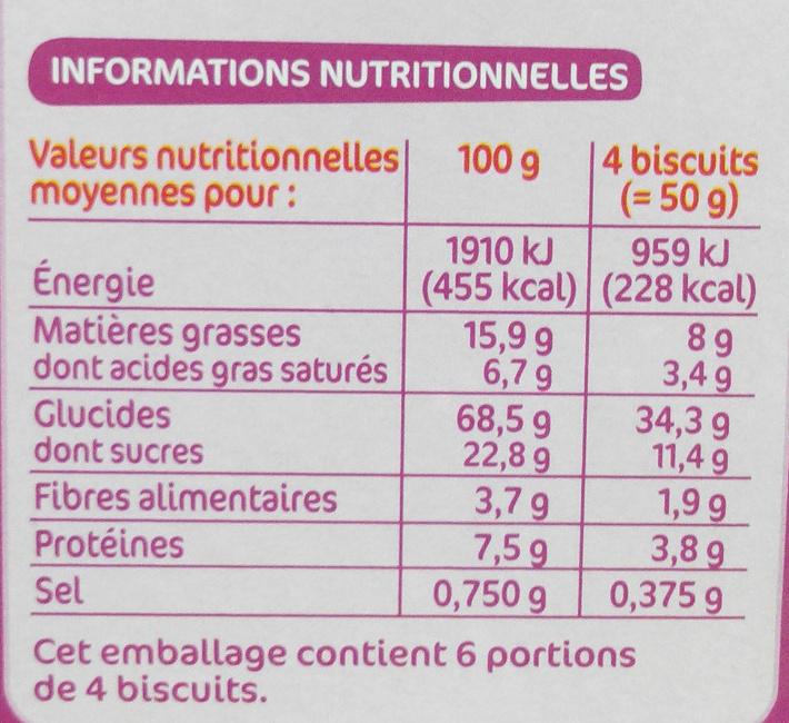 Biscuits petit déjeuner à la figue - Informations nutritionnelles - fr