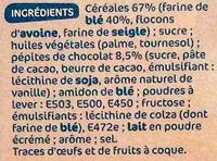 Biscuits petit déjeuner Déli-Matin allégé pépites de chocolat - Ingrédients - fr