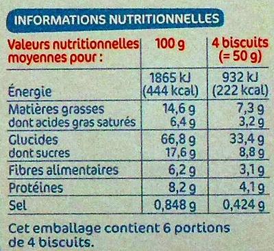 Biscuits petit déjeuner Déli-Matin allégé pépites de chocolat - Informations nutritionnelles