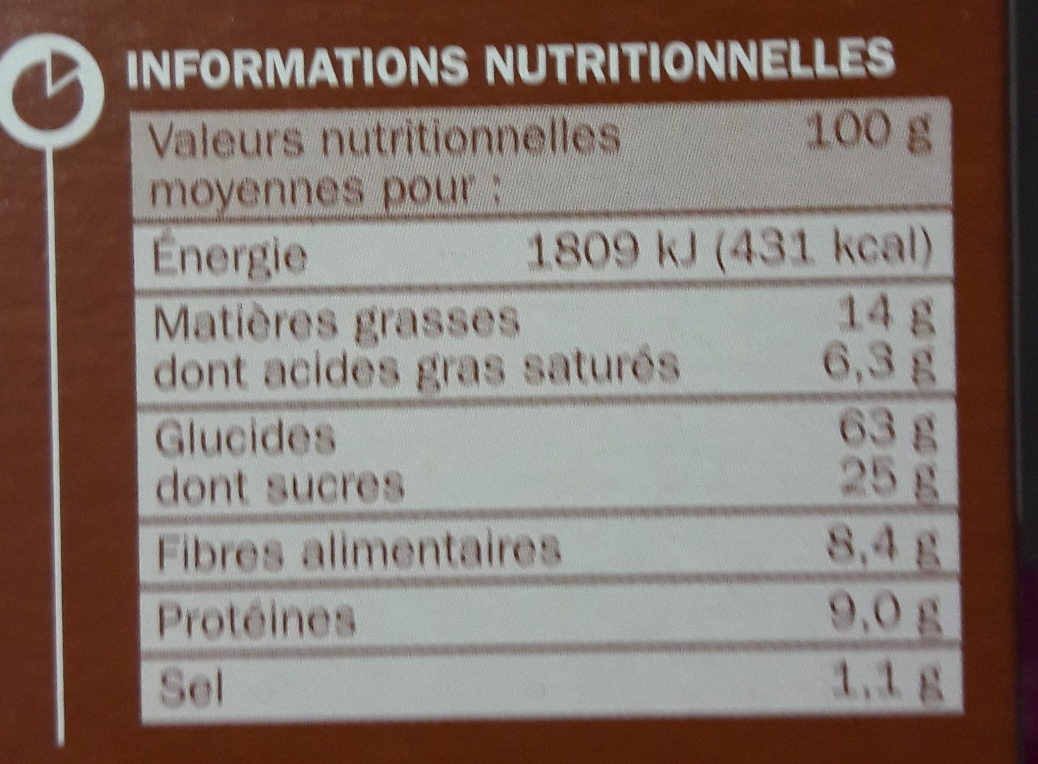 Biscuits chocolat céréales - Nutrition facts - fr