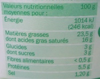 Fromage à tartiner ail et fines herbes 24%mg - Informations nutritionnelles - fr
