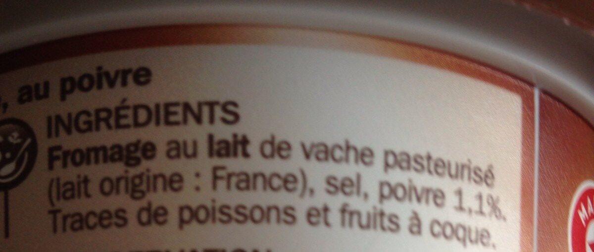 Fromage à tartiner poivre 25% - Ingrediënten