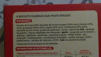 Barre fruits rouges x 6 - المكونات - fr