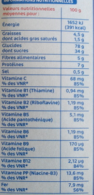 Céréales Croustillantes au chocolat - Informations nutritionnelles - fr