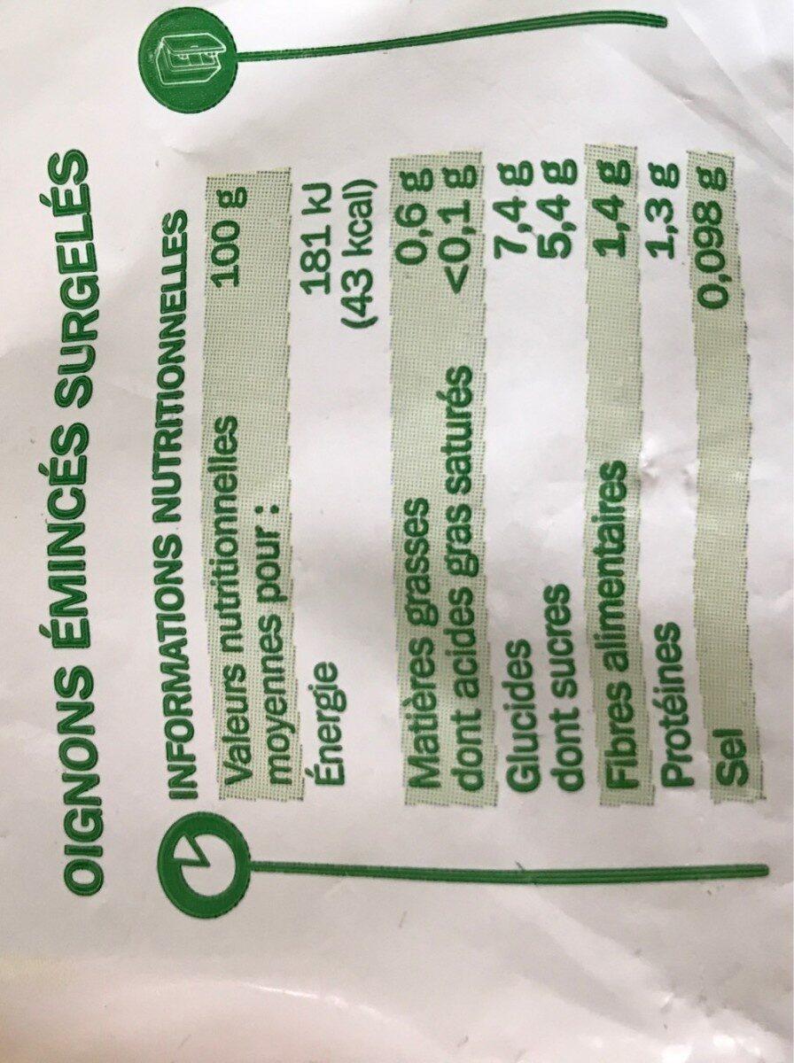 Oignons émincés - Informations nutritionnelles - fr