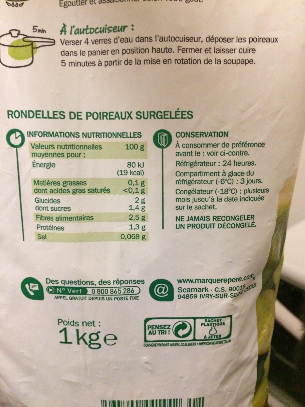 Poireaux en rondelles - Ingredients - fr
