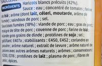 Saucisses aux haricots blancs 1/2 boite - Ingrediënten - fr