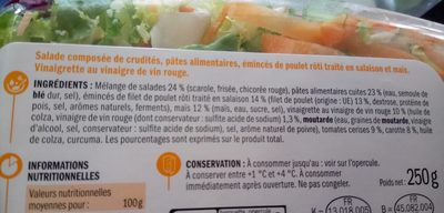 Salade poulet pennes crudités - Ingredients
